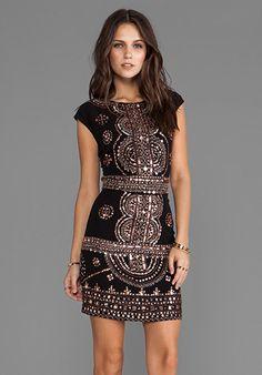 Love this! RENZO + KAI Cap Sleeve Laura Dress in Black/Gold - renzo + kai