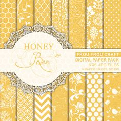 Honey Bee Digital Paper Pack Instant Download by froufroucraft
