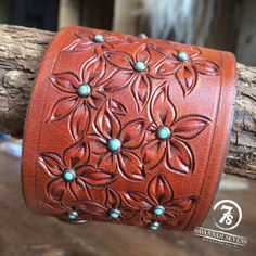 Kissimmee Cuff – floral tooled leather cuff with turquoise accents from Savannah Sevens Western Chic