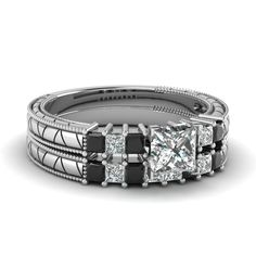 white-gold-princess-white-diamond-engagement-wedding-ring-with-black-diamond-in-prong-set-FDENS3227PRGBLACK-NL-WG