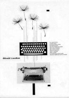 Locandina pubblicitaria degli anni '50 in lingua spagnola per la macchina per scrivere Lexikon 80.