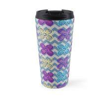 Crochet Flower Teal Chevron. Travel Mug