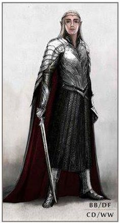 """Concept art for Thranduil in armor and cape from """"The Hobbit : The Battle of the Five Armies"""" (2014).  The sinuous lines of the armor follow the established elven aesthetic of the previous five films."""