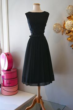 50s Dress // Vintage 1950s Lace and Chiffon by xtabayvintage, $198.00