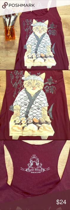 Bear Dance Sushi Chef Cat Novelty Tank This shirt is so awesome!  Super rare, dark maroon tank top with racer back from Bear Dance Brand.  Sushi Chef Cat is hungry for some fish! EUC.  65% rayon, 45% polyester. Bear Dance Tops