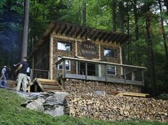 National Geographic's Building Wild tv show. Cordwood Wall Cabin.