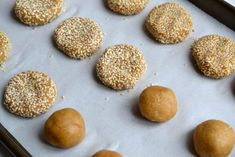 Delicious chewy cookies made with tahini and coated in sesame seeds. One of my favourite cookies! Paleo Honey, Honey Cookies, Dairy Free, Gluten Free, Tahini, Cake Cookies, Sweet Tooth, Grains, Low Carb