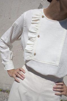 Caron Callahan Rosie Ruffle Top in Ivory Wool Cotton Gauze   Oroboro Store   Brooklyn, New York