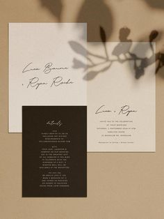 You desire a wedding invitation to complement the overall style and mood of the wedding. Is your wedding official or casual? An official wedding event may require timeless script typefaces, official phrasing, and the standard double envelope. #weddinginvitations