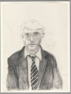 """Self Portrait Oct. 24th,"" (1983) - David Hockney - Charcoal on paper 30 x 22"