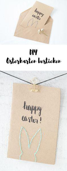 DIY Osterkarten besticken mit Osterhasen - Osterpost für die ganze Familie