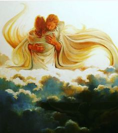 Welcomed into the arms of Jesus, prophetic art. Jesus hug.