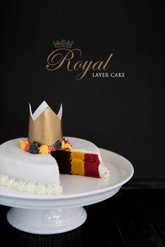 Un layer cake vertical chocolat, citron et framboise, aux couleurs de la belgique