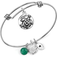 Unwritten Hawaii and Green Aventurine (8mm) Bangle Bracelet in... ($19) ❤ liked on Polyvore featuring jewelry, bracelets, no color, bangle charm bracelet, stainless steel bangle, adjustable bangle, stainless steel bangle bracelet and stainless steel jewelry
