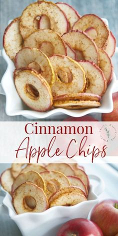 Cinnamon Apple Chips, made with a few simple ingredients like McIntosh apples, cinnamon and sugar are a healthy snack your whole family will love. snacks for kids Cinnamon Apple Chips Healthy Dessert Recipes, Healthy Sweets, Yummy Snacks, Yummy Food, Simple Snack Recipes, Healthy Delicious Recipes, Healthy Snack Recipes, Healthy Party Snacks, Healthy Chips