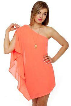 Asymmetry Hugger Neon Coral Dress