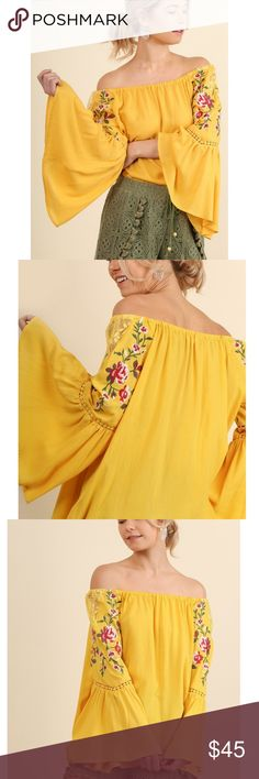 Bell Sleeve Embroidered Off Shoulder Top New Honey Bell Sleeve Embroidered Off Shoulder Top New Honey Yellow  Holy smokes how cute is this?!   Features:  cotton/poly 65/35 bell sleeves sheer lace detail at shoulders embroidered florals wear off shoulders or not hand wash or dry clean  Measurements, laying flat:  Bust:  21.5 S, 22.5 M, 24 L  Length: 21, 21.5, 22; measured from center neck down to hem Sofi + Sebastien Tops