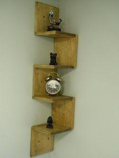 Wall mounted corner shelf Retro walnut stain. $47.99, via Etsy.