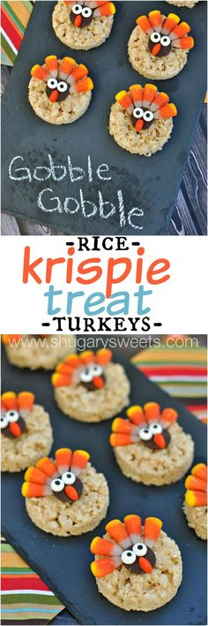Turkey Rice Krispie Treats decorated for Thanksgiving! Easy dessert that kids can help make! Turkey Rice Krispie Treats decorated for Thanksgiving! Easy dessert that kids can help make! Holiday Desserts, Holiday Baking, Holiday Treats, Easy Desserts, Easy Snacks, Dessert Recipes, Holiday Fun, Creative Snacks, Fall Treats