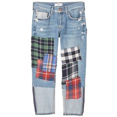 Relaxed Cropped Check Jeans ($25) ❤ liked on Polyvore featuring jeans, pants, bottoms, denim, distressed denim jeans, destructed jeans, destroyed denim jeans, ripped denim jeans and blue jeans
