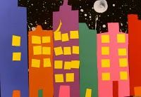 city at night cut paper