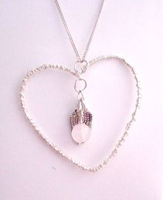 £7.50 Keepsake Memorial Necklace with Rose Quartz and Angel by Onuava