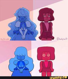cute, drawing, stevenuniverse, rubyxsapphire