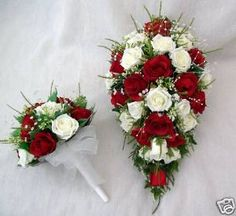 ARTIFICIAL WEDDING FLOWERS, BRIDES TEARDROP BOUQUET WITH 1 BRIDESMAIDS POSY IN RED AND IVORY ROSES