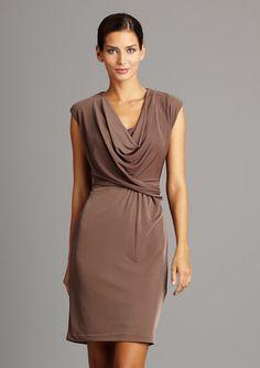 Drape-y cowl neck dress.