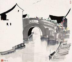 吴冠中 石桥 by China Online Museum - Chinese Art Galleries, via Flickr
