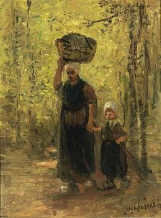 Jozef Israëls - A MOTHER AND HER CHILD RETURNING HOME; Medium: oil on panel