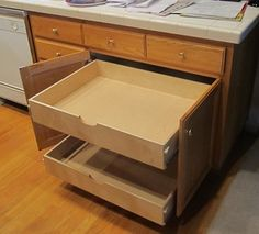 Add a scooped handle to your #PullOutShelves for easy opening, especially handy for those shelves placed just below the edge of your #cabinet or another shelf.  http://www.shelfgenie.com/