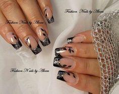 ♡ fancy black french with leaf design