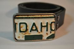 Hey, I found this really awesome Etsy listing at https://www.etsy.com/listing/179720005/idaho-recycled-license-plate-belt-buckle