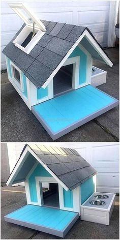 A unique and eye-catching reused wooden pallet dog house is the part of this image. This craft is created with the delightful adjustment of wood pallet stacking in simple variation form. A much artistic piece of artwork has been done here for you with a window on the side, an attached food bowls, as well as a ventilator on top. #pallets #woodpallet #palletfurniture #palletproject #palletideas #recycle #recycledpallet #reclaimed #repurposed #reused #restore #upcycle #diy #palletart #pallet
