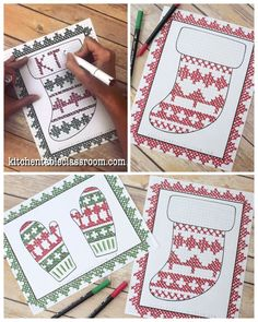 Explore Scandinavian patterns on these free stocking template and mitten template. Christmas Crafts For Kids, Christmas Activities, Christmas Art, Kids Crafts, Christmas Ideas, Mittens Template, Stocking Template, Easy Craft Projects, Easy Diy Crafts