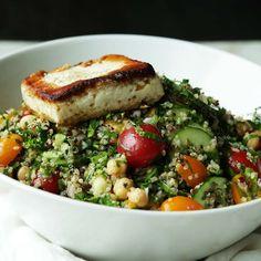 Tabouleh Quinoa Salad Recipe with Fried Feta Cheese