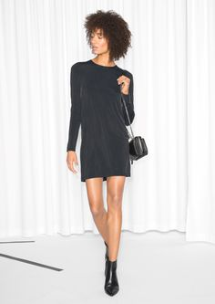 & Other Stories image 2 of Cupro Cut Out Dress in Black