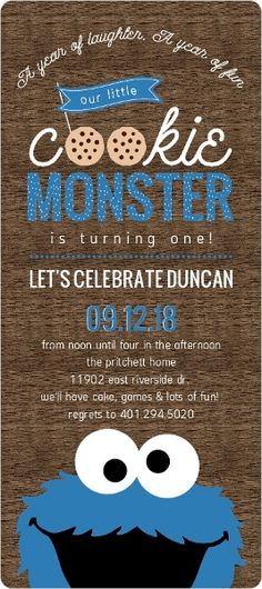 Cookie Monster First Birthday Invitations by PurpleTrail.com. #cookiemonster1stbirthdayinvitations #cookiemonster1stbirthday
