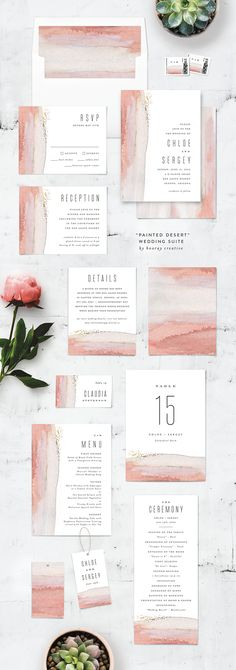 'Painted Desert' Wedding invitation suite with matching accessories. Designed by Hooray Creative | available @minted.com  #affiliate