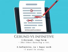 Gerund, -ing form: the gerund is a verb form which has the ending -ing. Infinitive, to + base verb: the infinitive form is the base . Have You Tried, I Tried, Told You So, English Grammar, English Language, Verb Forms, New Girlfriend, She Likes, Bad News