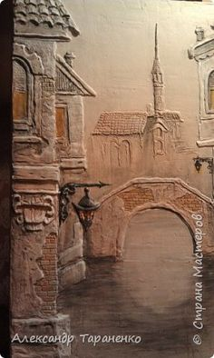 Картина панно рисунок Лепка Картина-барельеф  Венеция Гипс фото 3