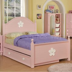 Floresville Pink Shaped Headboard Bed with Trundle by Acme Furniture