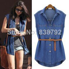 2014 Summer New Women's Clothing Tops Casual Blouses Sleeveless Cotton Blouse Slim Fit Top grade Denim Shirt For Women S-XL 8552 $20.68