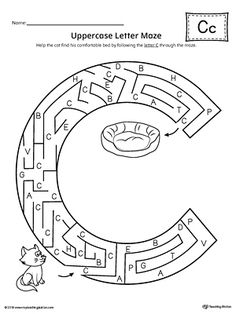 Uppercase Letter C Maze Worksheet Worksheet.If you are looking for creative ways to help your preschooler or kindergartener to practice identifying the letters of the alphabet, the Uppercase Letter Maze is the perfect activity. Letter C Crafts, Alphabet Letter Templates, Alphabet Crafts, Alphabet Worksheets, Animal Worksheets, English Worksheets For Kids, School Worksheets, Letter C Activities, Letter Maze