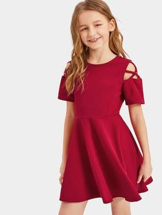 To find out about the Girls Crisscross Cold Shoulder Fit & Flare Dress at SHEIN, part of our latest Girls Dresses ready to shop online today! Cute Little Girls Outfits, Cute Girl Dresses, Teenage Girl Outfits, Girls Fashion Clothes, Kids Outfits Girls, Stylish Dresses, Girl Fashion, Cute Outfits, Fashion Outfits