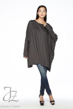 No.62 Kohle Baumwolljersey überdimensioniert T-Shirt Tunika Pullover, Damen Top