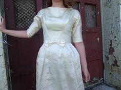 Cream Satin Vintage Wedding Dress by FashionBone on Etsy