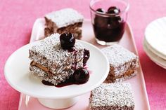 Choc cherry lamington