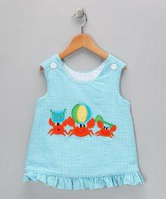 #zulily wish upon a star blue seersucker beach crab jumper